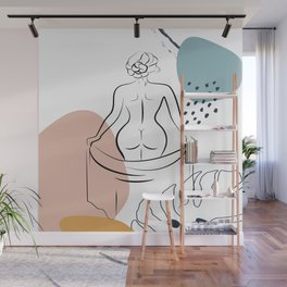 Woman's Back Print Female Body Art, One Line Drawing, Female Nude Art, Erotic Minimal Art Print Wall Mural