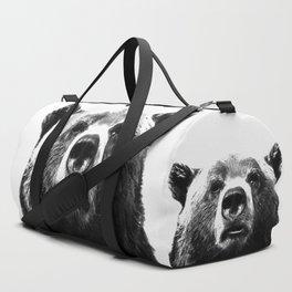Black and white bear portrait Duffle Bag