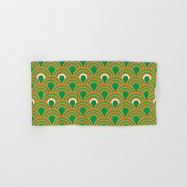 retro sixties inspired fan pattern in green and orange Hand & Bath Towel