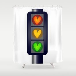 Love Heart Traffic Lights Shower Curtain