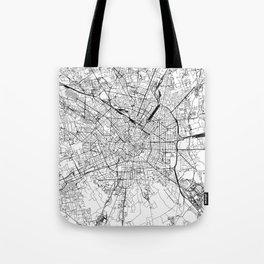 Milan White Map Tote Bag