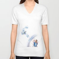 castiel V-neck T-shirts featuring Castiel by Teya Ross