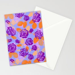 Roses and dots pattern (violet) Stationery Cards
