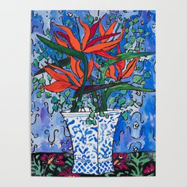 Birds of Paradise in Blue After Matisse Poster