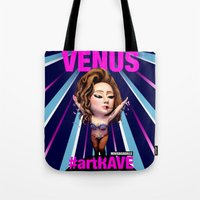 artrave Tote Bags featuring VENUS artRAVE by Sergiomonster