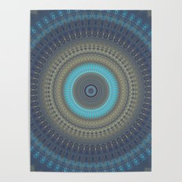 Blue Grey with bright Accent Mandala Design Poster