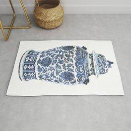 Blue & White Chinoiserie Porcelain Ginger Jar with Chrysanthemum Pattern Rug