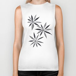 Elegant Thin Flowers With Dots And Swirls Biker Tank