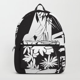 Flower Junkie - Black and White Digital Drawing of Girl holding Flowers Backpack
