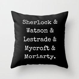Guys of Sherlock Black Background Throw Pillow