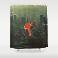 houston Shower Curtains featuring houston by Jesse Treece