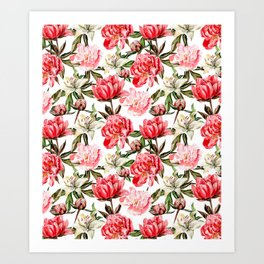 Peonies and Lilies - flower pattern no 1 Art Print