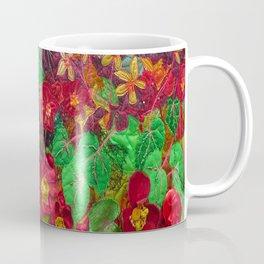 Scarlet Begonias. Textile art Coffee Mug