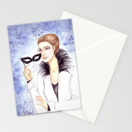 Girl with mask Stationery Cards