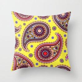 Oriental Persian Paisley, Dots - Yellow Blue Pink Throw Pillow