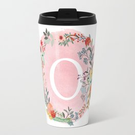 Flower Wreath with Personalized Monogram Initial Letter O on Pink Watercolor Paper Texture Artwork Travel Mug