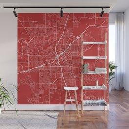 Huntsville Map, USA - Red Wall Mural