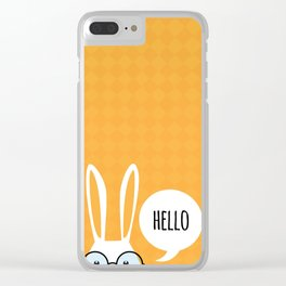 Greeting card with with white Easter rabbit. Funny bunny. Easter Bunny. Clear iPhone Case