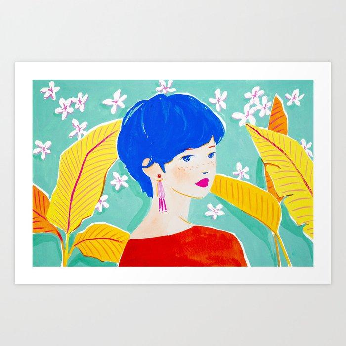 Short Hair Girl in Red Art Print