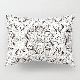 Butterfly Mandala - black and white Pillow Sham