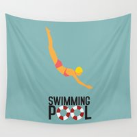 swimming Wall Tapestries featuring Swimming Pool by Studio du flamant rose
