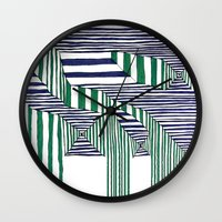 stripes Wall Clocks featuring Stripes by Take F1ve