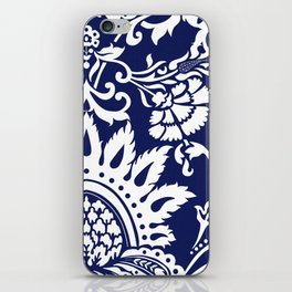 damask in white and blue iPhone Skin