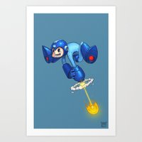 megaman Art Prints featuring MEGAMAN by Brwnbear