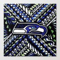 seahawks Canvas Prints featuring Seahawks new tribal look by Lonica Photography & Poly Designs