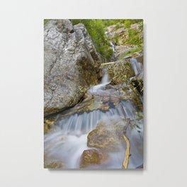 Silver Cascade Metal Print