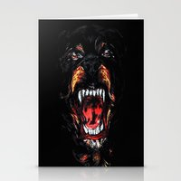 rottweiler Stationery Cards featuring Givenchy Rottweiler by sixsociety