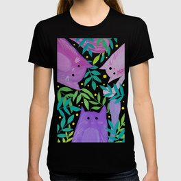 Cats and branches - purple and green T-shirt