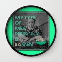 ramen Wall Clocks featuring ramen lover by AmDuf
