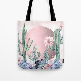 Desert Sun + Gemstones Rose Gold Pink Watercolor Tote Bag