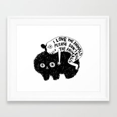 I LOVE THE ANIMALS PLEASE DON'T KILL THE ANIMALS Framed Art Print