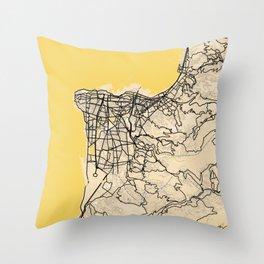 Beirut Yellow City Map Throw Pillow
