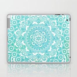 Sea Green Ombre, Indian Mandala Pattern Laptop & iPad Skin