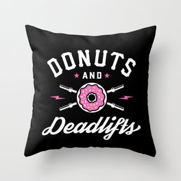 Donuts And Deadlifts Throw Pillow