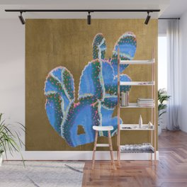 prickly pear agate in blue Wall Mural