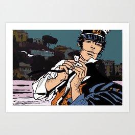 Corto Maltese dans le vent Art Print