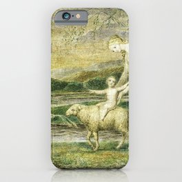 William Blake - Our Lady with the Infant Jesus riding on a Lamb iPhone Case
