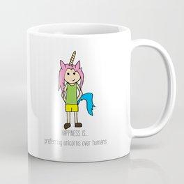 HAPPINESS IS... preferring unicorns over humans Coffee Mug