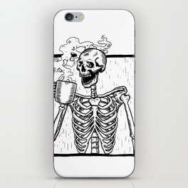 Skeleton Drinking a Cup of Coffee iPhone Skin