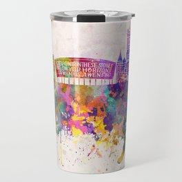Cardiff skyline in watercolor background Travel Mug