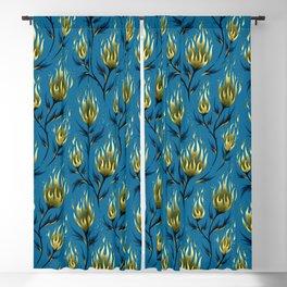 Fire Flower - Blue Gold Blackout Curtain