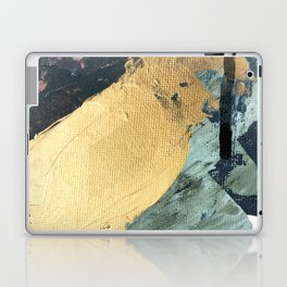 Supernova: an abstract mixed media piece in gold with blues, greens, and a hint of pink Laptop & iPad Skin