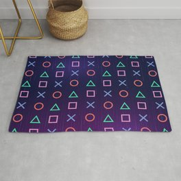 Cyberpunk Vaporwave Playstation Icons Rug