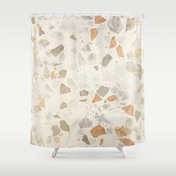 Rustic Elegant Ivory Gray Brown Stone Marble Shower Curtain