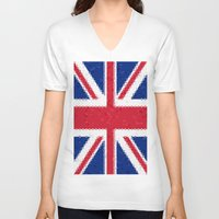 british flag V-neck T-shirts featuring British flag mosaic by Zora Zora