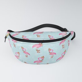 From Flamingo Birds And Christmas-Cute teal XMas Pattern Fanny Pack
